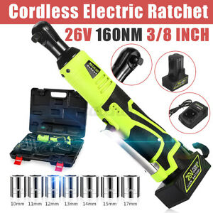 26v 160nm 3 8 Cordless Electric Ratchet Right Angle Wrench Tool battery Kit