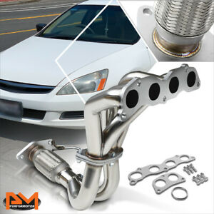 For 03 07 Honda Accord 2 4 4cyl Stainless Steel 4 2 1 Exhaust Header Manifold