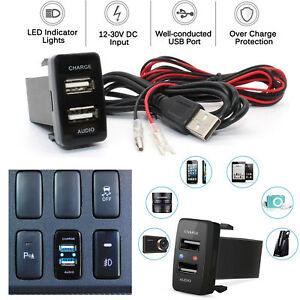 12v Charger Adapter Twin Double 2 Usb Port In Car Socket Lighter For Toyota