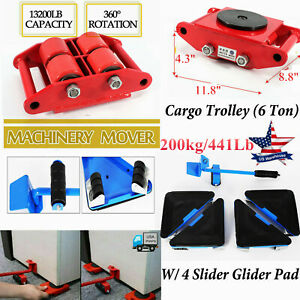 Heavy Duty Machine Dolly Skate Machinery Roller Mover Cargo Trolley 4 Slider Pad