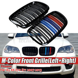M Color Front Kidney Grille Bumper Grill For Bmw X5 X6 E70 E71 07 13 Gloss Black