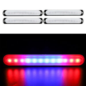 Car Truck 12led Red Blue Red Beacon Warning Hazard Emergency Strobe Light Bar