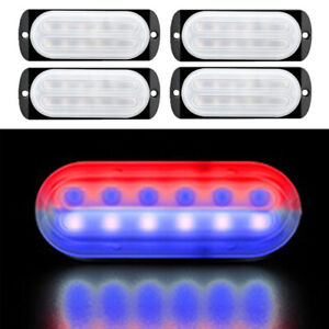 Car Truck 12led Red Blue Beacon Warning Hazard Emergency Strobe Light Bar