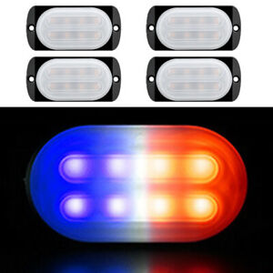 Car Truck 8led Red Blue Beacon Warning Hazard Emergency Strobe Light Bar