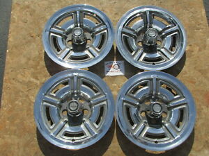 1966 69 Ford Mustang Galaxie 500 7 Litre 15 Wheel Covers Hubcaps Set Of 4