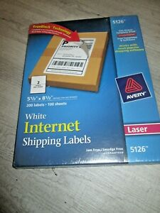 200 Avery 5126 White Internet Shipping Labels 5 5 X 8 5 200 Labels Laser