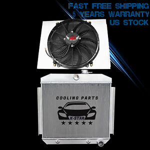 3 Row Radiator W Shroud 16 Fan For 1955 1957 Chevy Bel Air 6cyl Core Supports