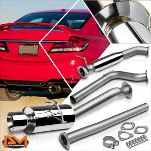 For 12 15 Honda Civic Si 4 dr Fb K24 4 Rolled Tip Muffler Catback Exhaust Pipe