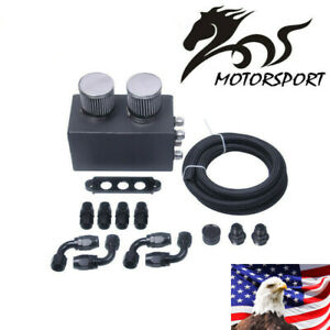 Universal 4 Port Oil Catch Can Kit Breather Box For Honda Acura Turbo Car