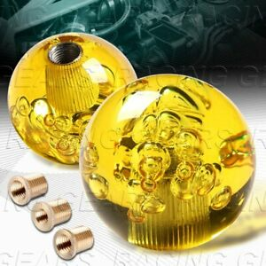 Vip Ball 60mm W power Transparent Manual Mt Yellow Crystal Bubble Shift Knob