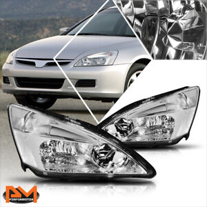 For 03 07 Honda Accord Jdm Chrome Housing Headlight Clear Side Corner Lamps Pair