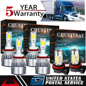 For Freightliner Cascadia 2008 2017 Combo Led Headlights Fog Lights Bulb Kit 6