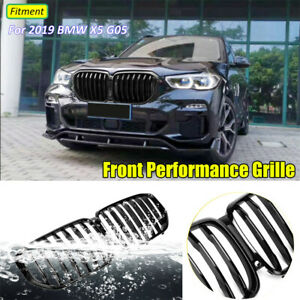 Pair Gloss Black Front Kidney Grill Grille M Performance For 2019 Bmw X5 G05 Hot