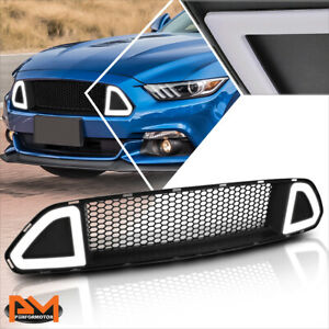 For 15 17 Ford Mustang Honeycomb Mesh Front Bumper Grille W Triangle Led Light