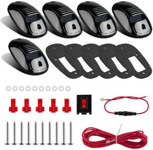 5x 12led White Smoke Cab Roof Running Top Marker Clear Lights For Ford Dodge Ram
