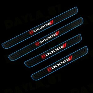 For Dodge 4pcs Blue Border Rubber Car Door Scuff Sill Cover Panel Step Protector