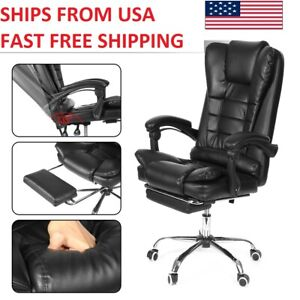 Gaming Office Chair Adults Recliner Footrest Leather Seat Computer Desk Chair Us