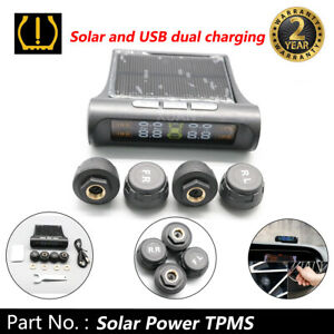 Tire Pressure Monitor System Usb solar Wireless Car Tpms Lcd W 4 External Sensor