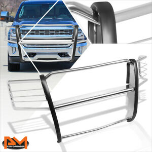 For 14 18 Chevy Silverado 1500 Front Bumper Brush Grille Guard Protector Chrome