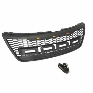 Front Grille Grill Fit For Ford Explorer 2012 2016 With 3 Led Lights Black