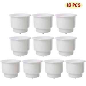 Set Of 10 Plastic Drop In Cup Drink Can Holders For Boat Car Marine With Drain