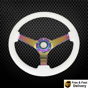 Universal White Neochrome Spoke 350mm 14 Wooden Steering Wheel Deep Dish Corn