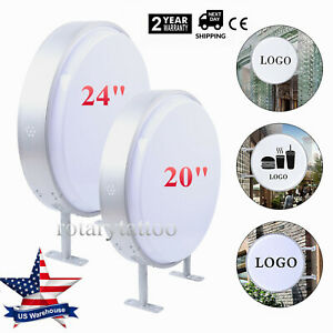 Double Sided Outdoor Round Illuminated Projecting Light Box Sign Led 20 24 Usa