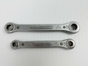 Vintage Indestro Lot Of 2 Double Box End Ratcheting Wrenches 1 2 9 16 7 16 3 8