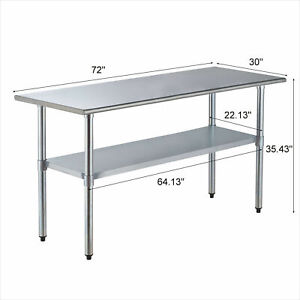 Commercial Stainless Steel 30 x72 Food Prep Work Table Kitchen Restaurant Sale