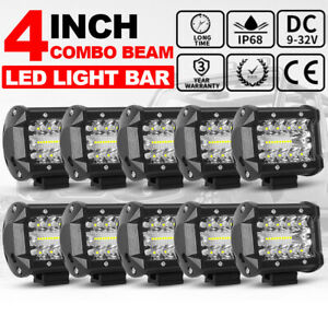 10pcs 4inch Led Work Light Bar SPOT FLOOD Cube Pods Offroad Lamp Fog SUV ATV 12V