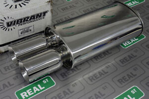 Vibrant Streetpower Oval Muffler W Dual 3 5 Round Straight Cut Tips 3 Inlet
