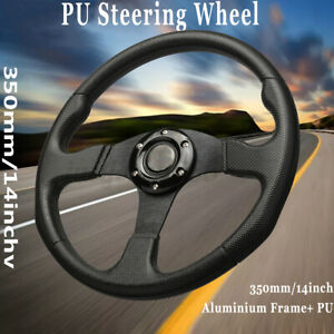 350mm 14 Deep Dish 6 Bolt Racing Steering Wheel Pu Leather Horn Button Black Us