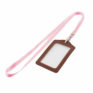Lanyard Faux Leather Vertical Office Name Id Card Tag Badge Holder Brown Pink