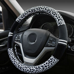 Car Fuzzy steering wheel cover Plush Leopard 14 5 15in Black With White