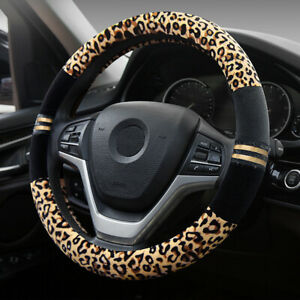 Car Fuzzy Steering Wheel Cover Plush Leopard 14 5 15in Black With Yellow