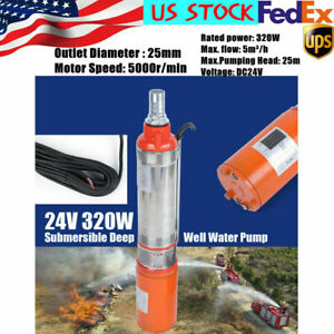 Dc 24v 5m h Solar Power Water Pump Farm Ranch Submersible Bore Hole Deep Well