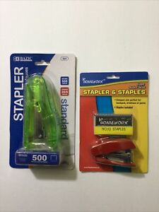 1 Transparent Colorful Stapler With 500 Staples Mini Stapler With 1000 Staples