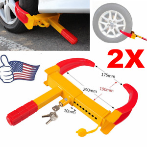 2 Pack Car Wheel Tire Lock Clamp Boot Anti Theft For Motorcycles Trailer W Key