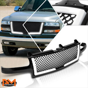For 00 06 Chevy Suburban tahoe Diamond Mesh Front Bumper Grille Frame W led Drl