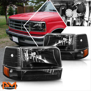 For 92 96 Ford F150 F250 F350 Black Housing Headlight Amber Corner Signal Lamps