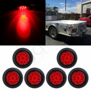 6x 2 Round 9 Led Side Marker Turn Signal Tail Light Kits W Rubber Grommet Red