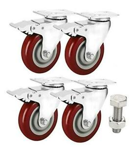 Enjucom 4 Swivel Caster Wheels With Safety Dual Locking Heavy Duty 1200lbs Set