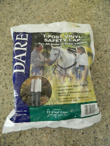 New Dare Electric Fence T post Safety Cap White Vinyl 25 pk