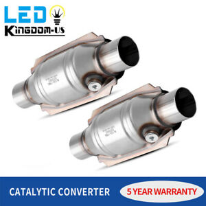 1set 2pc Universal Catalytic Converter 2 25 In outlet W o2 Port Stainless Steel