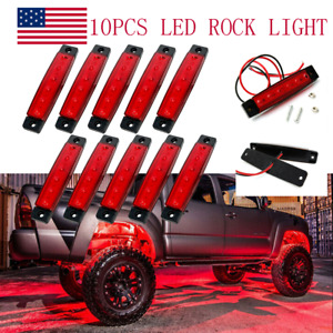 Red Led Rock Lights 10pod Underbody Wheel Light For Jeep Offroad Truck Utv Atv