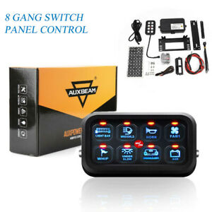 Led Switch Panel 8 Gang On Off Push Switch Blue Relay Wiring Harness Car Boat