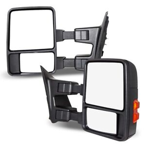 Fits 03 07 Ford Super Duty Side Towing Mirrors Pair Manual Telescoping Textured