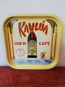 Vintage Mexican Kahlua Coffee Liquor tin metal tray from 50's rare htf