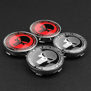 4pc 56 60mm Punisher Skull Logo Car Wheel Center Hub Caps Badge Emblem Sticker