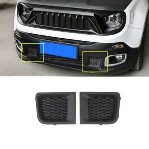 Abs Black Front Bumper Grille Air Intakes Cover Trim For 2015 2018 Jeep Renegade